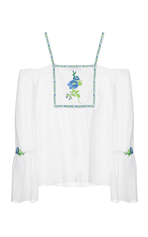 Silk-Cotton Top with Dropped SLeeves and Floral Embroidery