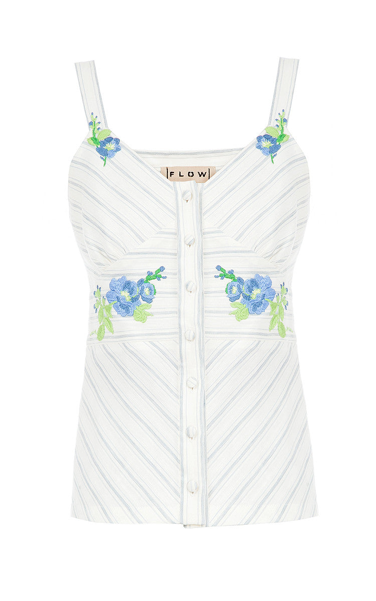 Linen Striped Top with Floral Embroidery
