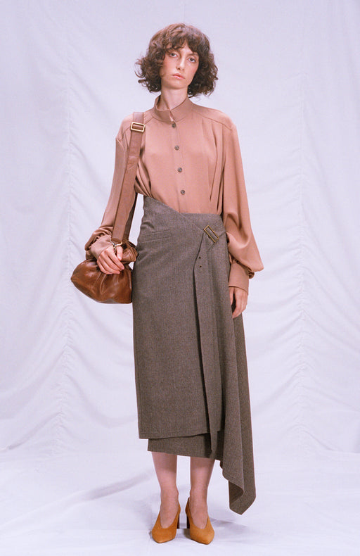 Woolen asymmetric wrap skirt