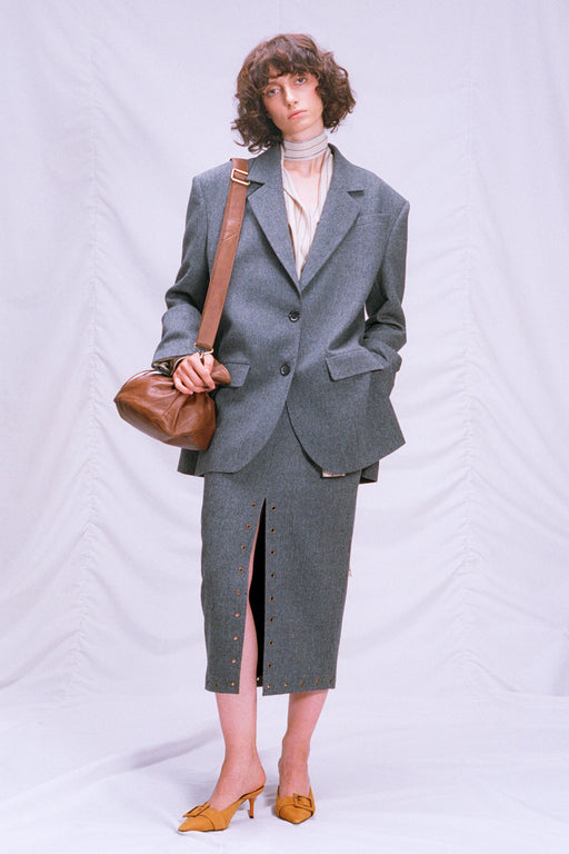 Grey woolen skirt with a slit