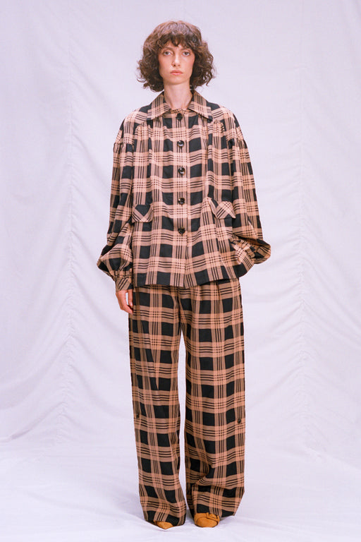 Plaid cotton pants