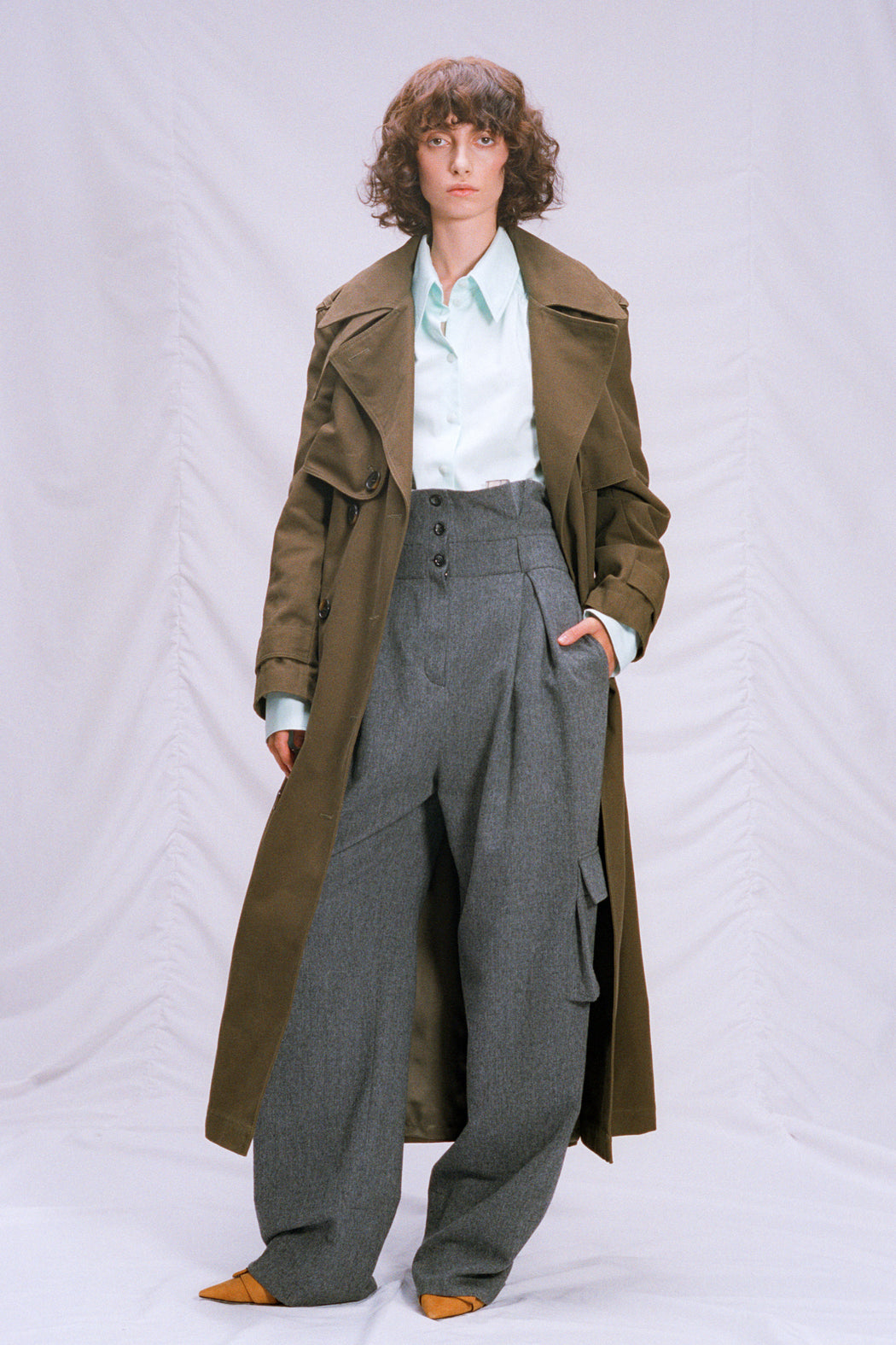 Woolen pants with patch pockets