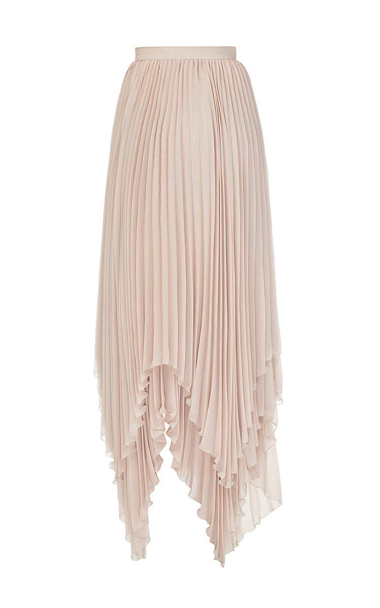 Beige Chiffon Pleated Skirt