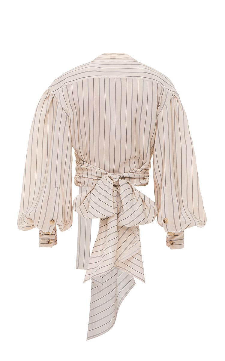 Stripped wrap blouse