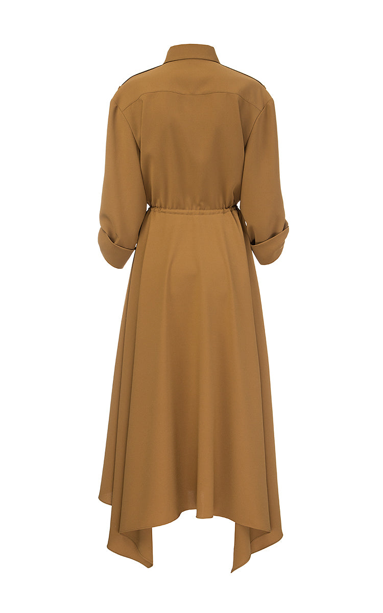 Brown Midi Dress with Wedges and Shoulder Straps