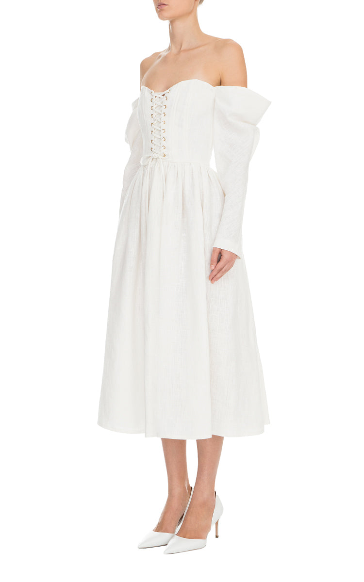 Long Sleeve Linen Corset Dress