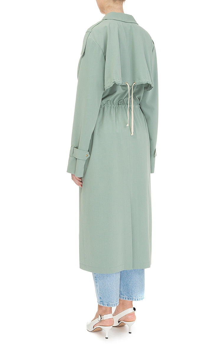 Trench coat with drawstrings