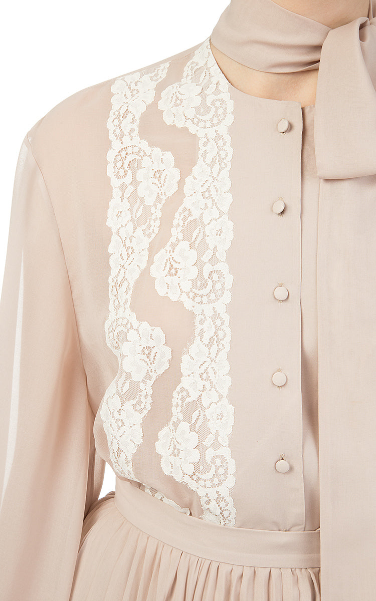 Beige Chiffon Blouse with White Lace