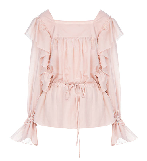 Silk-Cotton Top With Ruffle Details