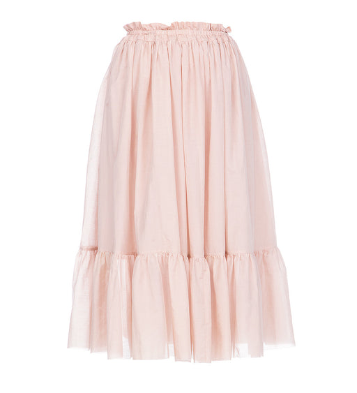 Silk-Cotton Skirt with Elastic Waist