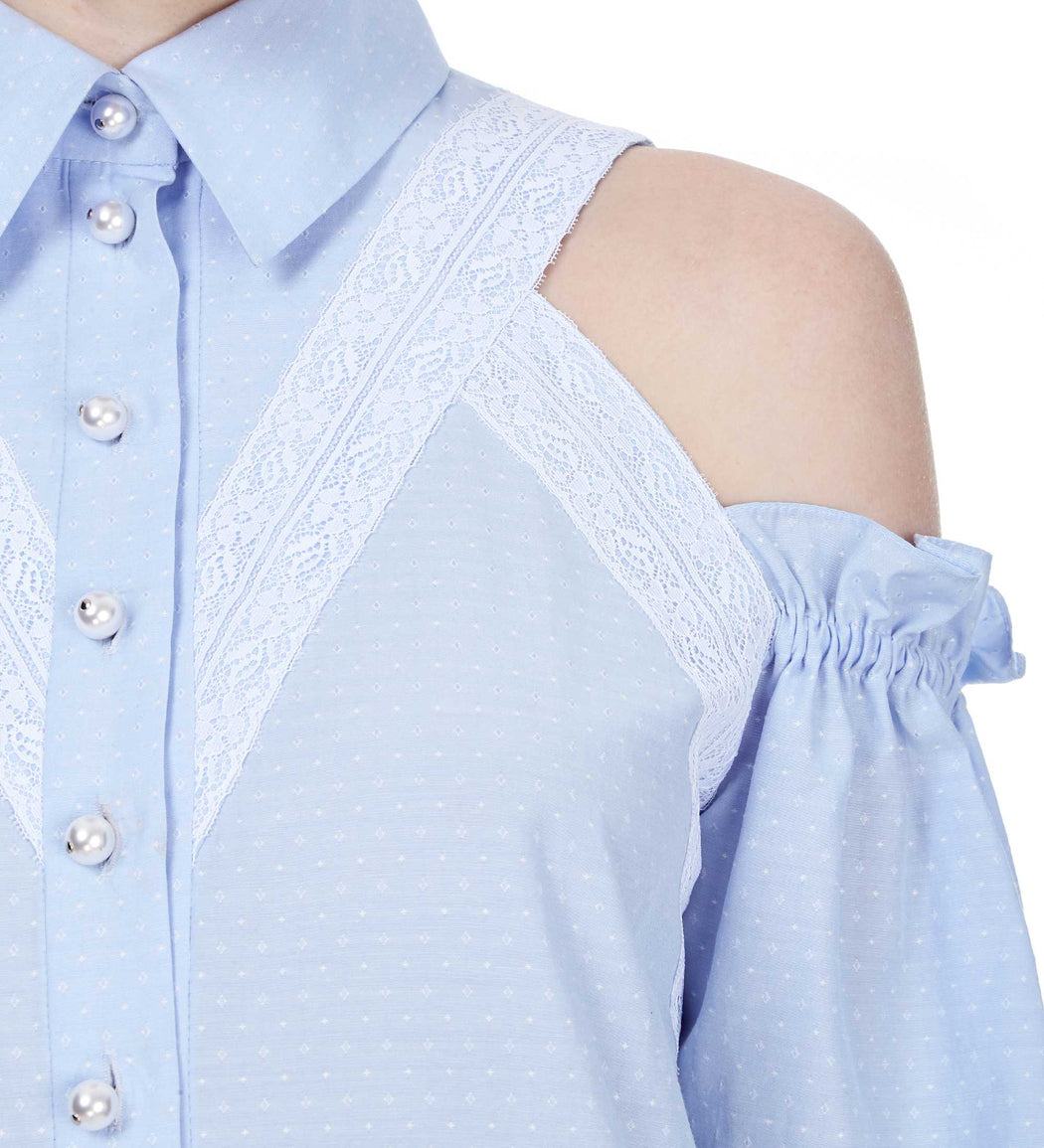 Open-shoulder Lace-embellished Blouse