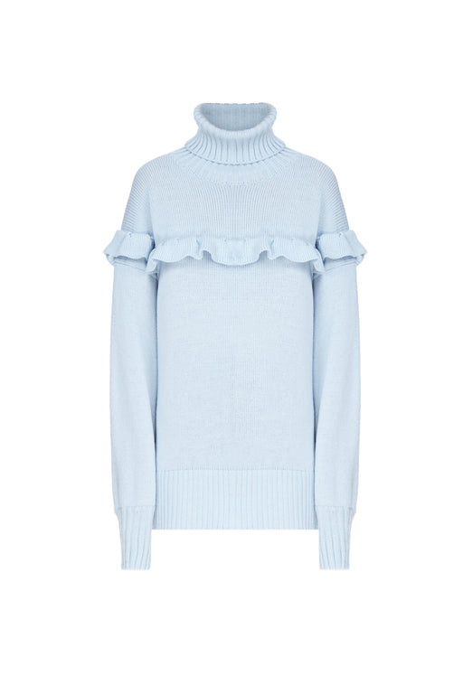 Ruffled Turtle-neck Sweater
