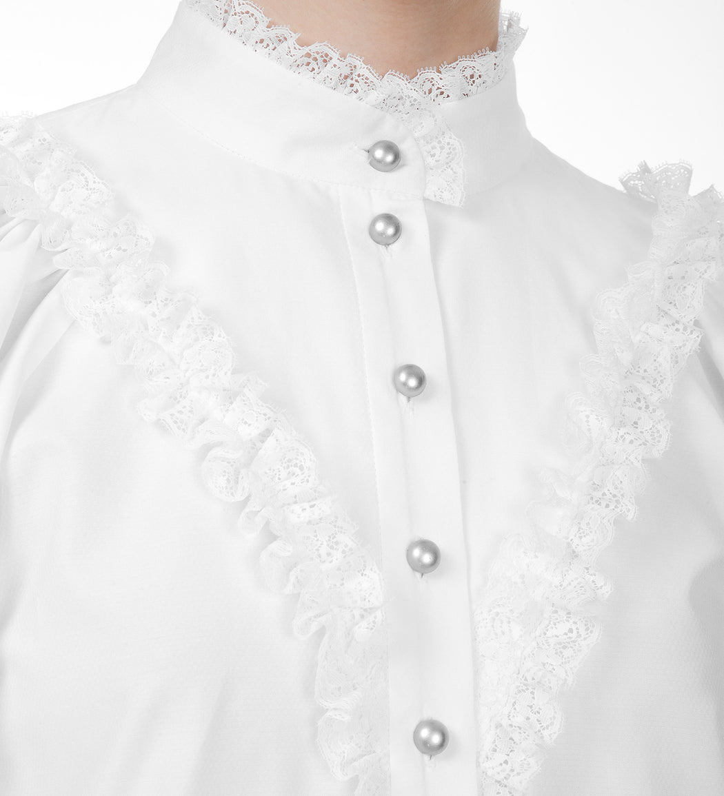 High-neck Lace-embellished Blouse