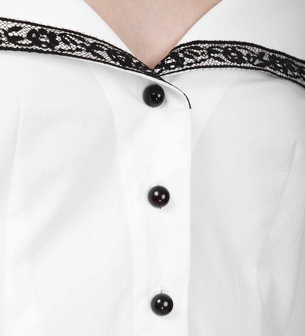 Contrasting Open Neck Blouse