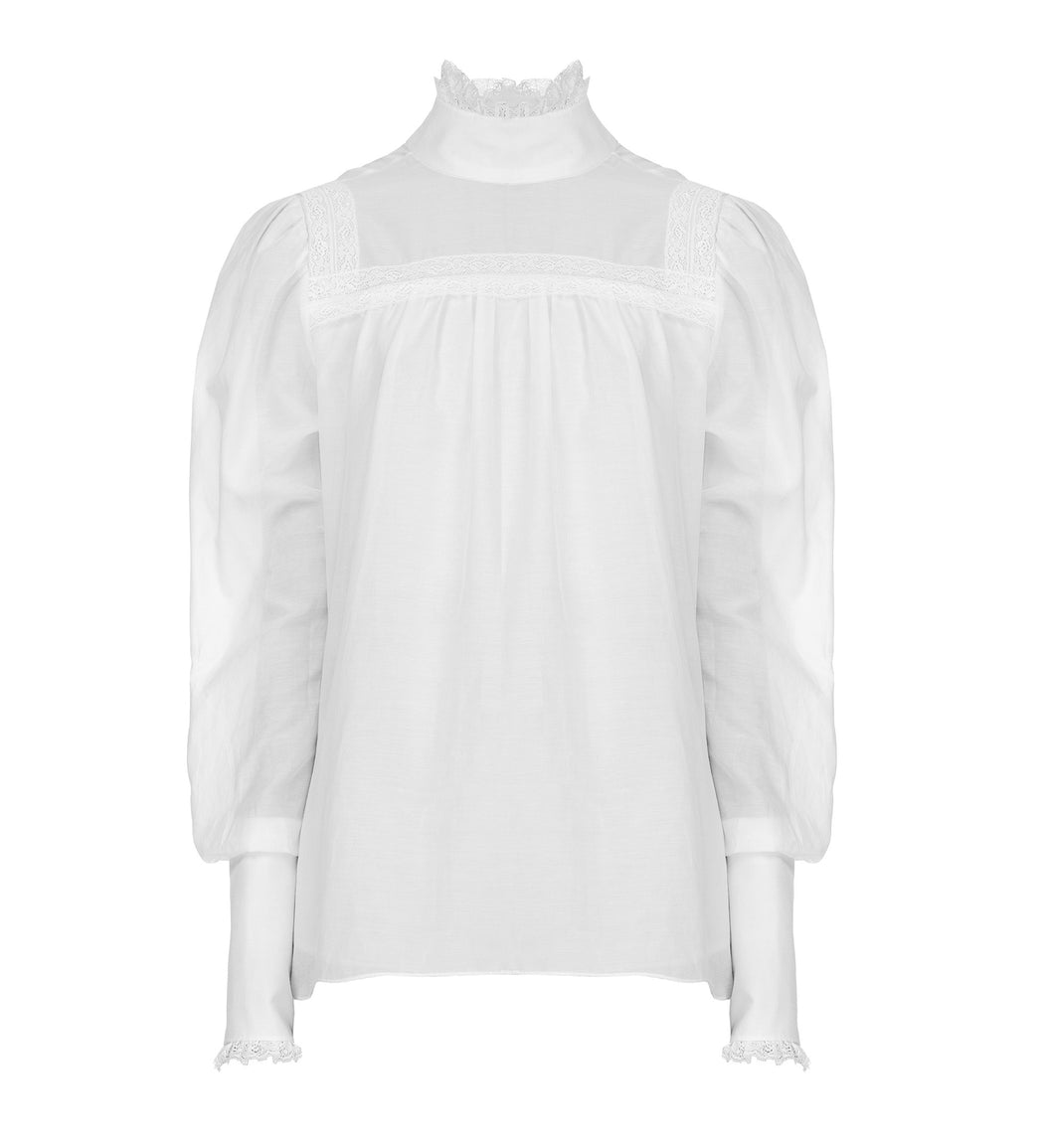 High-neck Batiste Blouse