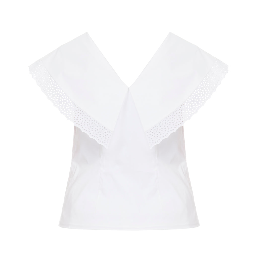 Point-collar Lace-embellished Top