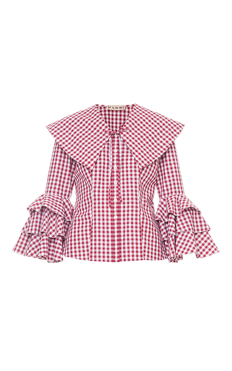 Collar Blouse With Ruffles