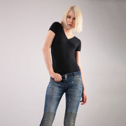 (F8WTWY2-N) SHORT-SLEEVE BLACK STRETCH JERSEY BODYSUIT
