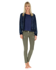 (WS347L01H02-J0M)Bomber With Contrast Lining In Denim With Acid-Washed Effect