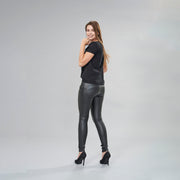 (WRUP1RC006-N) WR.UP® SKINNY REGULAR WAIST BLACK PANTS IN FAUX LEATHER