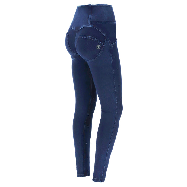 (WRUP1HF006-J0B) HIGH-WAISTED WR.UP® SHAPING JEANS WITH BUTTONS AND MICRO STUDS IN DARK BLUE
