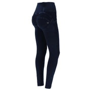 (WRUP1HF006-J29B) HIGH-WAISTED WR.UP® SHAPING JEANS WITH BUTTONS AND MICRO STUDS IN DARK BLUE