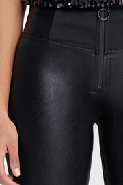 (WRUP1HF008-N) HIGH-WAISTED WR.UP® SKINNY BLACK PANTS WITH FAUX LEATHER INSERTS