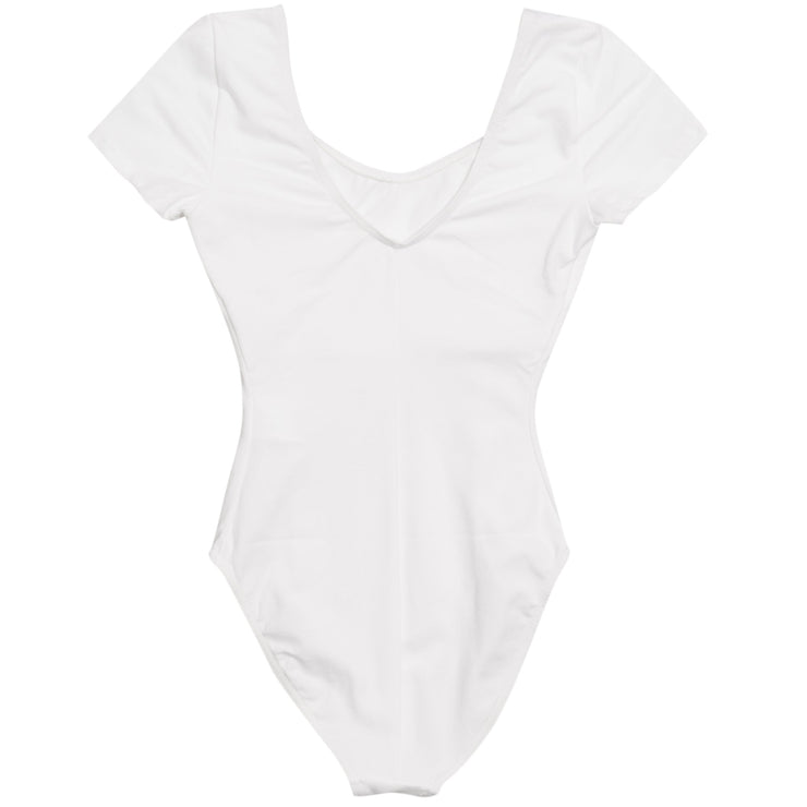 (IT_B1006JR_W_0) Short-sleeved, cotton stretch leotard