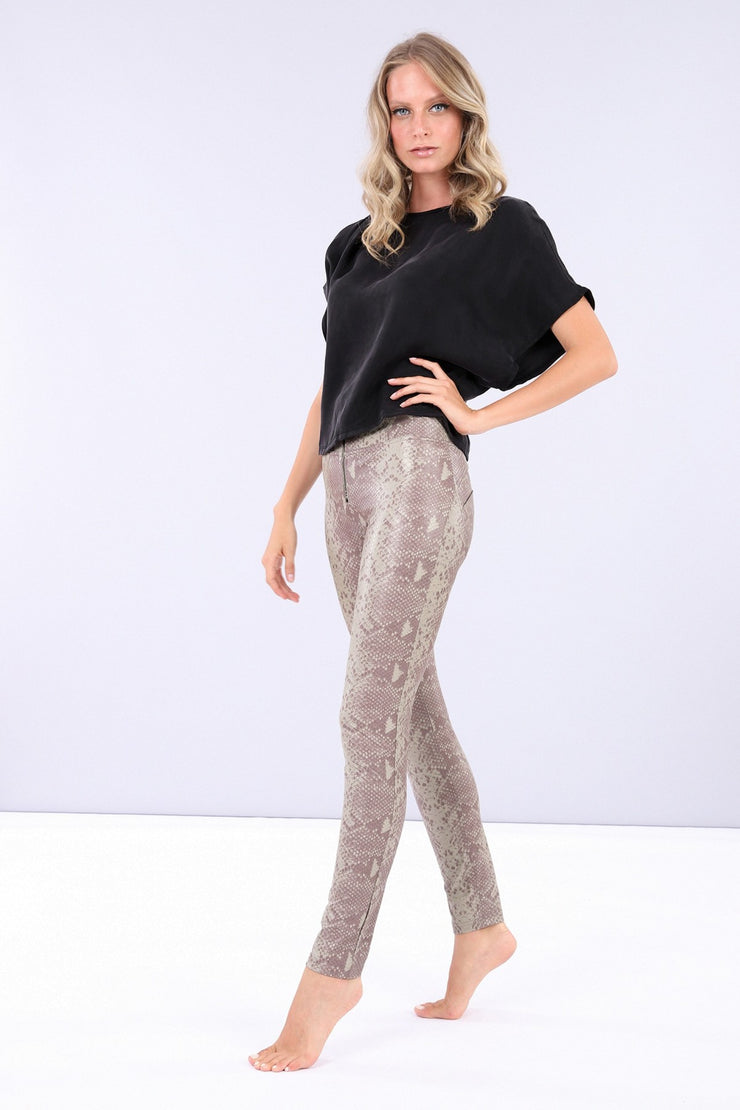 (WRUP1HS005-ANI6) BURGUNDY FAUX SNAKE SKIN WR.UP® SKINNY PANTS