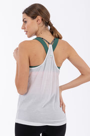 (IT_F0WMIK3_W) Women's crepe yoga tank top - 100% Made in Italy