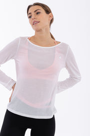 (IT_F0WMIT2_W) Women's crepe yoga shirt - 100% Made in Italy