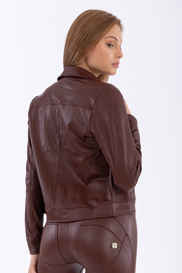 (IT_F0WTWJ11_M33) 70s-style mille-rayé faux leather jacket