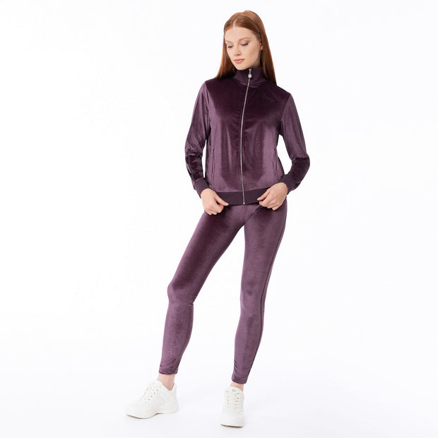 (F0WWTK3-E41)WOMEN'S VELVET WR.UP®-IN TRACK SUIT WITH GLITTER BANDS