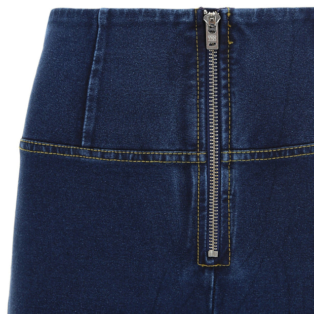 (WRUP1HJ01E-J0Y)WR.UP® HIGH-WAIST SKINNY-FIT BLUE PANTS IN STRETCH DENIM WITH SILVER ZIPPER