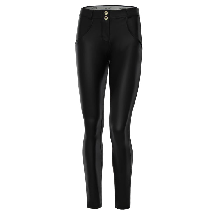 (WRUP1RX01E-N) WR.UP® SKINNY REGULAR WAIST BLACK PANTS IN FAUX LEATHER