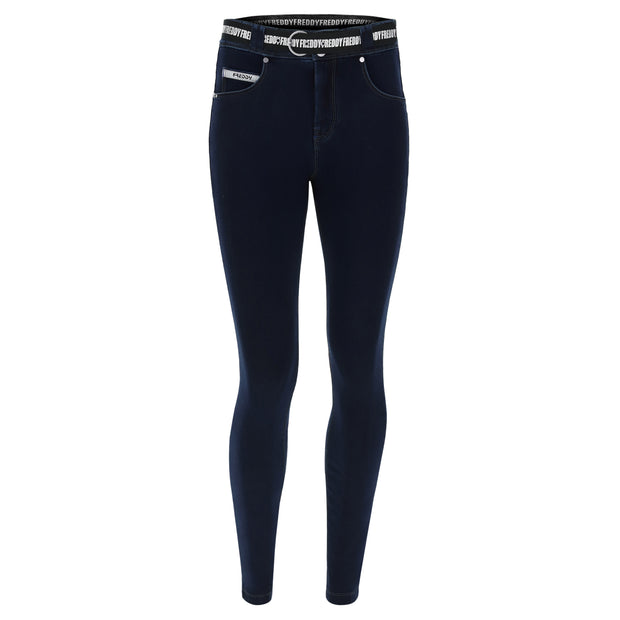 (NOW1MC002-J0B) N.O.W.® PANTS DARK BLUE DENIM-EFFECT SLIM FIT TAPERED LEG