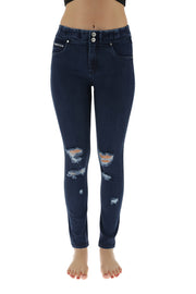 (NOW1MS111-J0B) MEDIUM WAIST N.O.W.® PANTS TROUSERS IN DARK DENIM-EFFECT FABRIC WITH RIPS