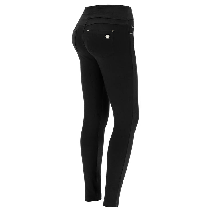 (NOWY1MC001-N) SLIM-FIT N.O.W.® COTTON BLACK PANTS WITH A FOLDABLE WAIST
