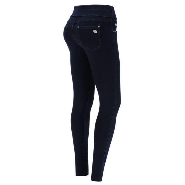 (NOWY1MC002-J0B) N.O.W.® PANTS DENIM-EFFECT JERSEY DARK BLUE PANTS WITH A FOLDABLE WAIST