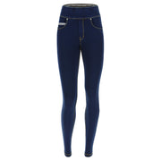 (NOWY1MC002-J0Y) N.O.W.® PANTS DENIM-EFFECT JERSEY DARK BLUE PANTS WITH A FOLDABLE WAIST