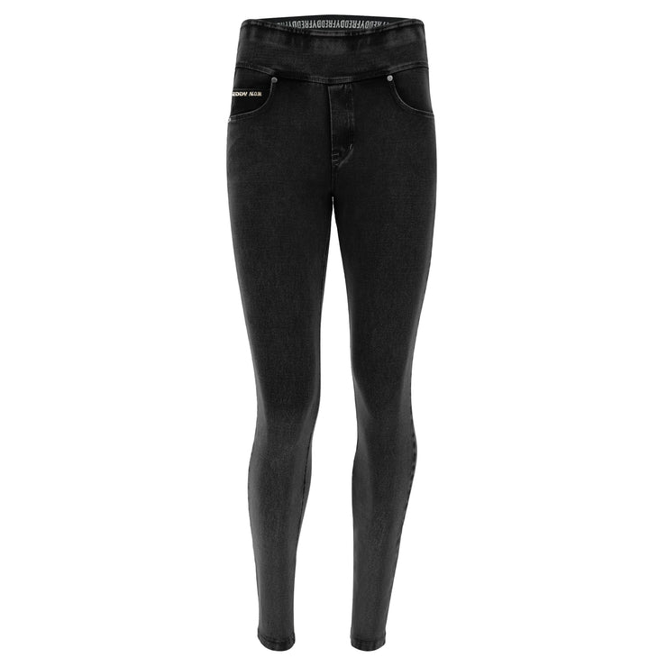 (NOWY1MC002-J7N) N.O.W.® PANTS DENIM-EFFECT JERSEY BLACK PANTS WITH A FOLDABLE WAIST