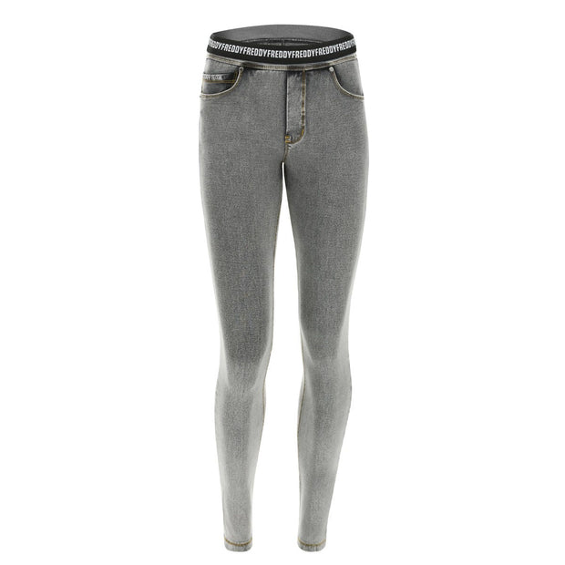 (NOWY1MC003-J3Y) N.O.W.® PANTS DENIM-EFFECT JERSEY LIGHT GREY PANTS WITH A FOLDABLE WAIST