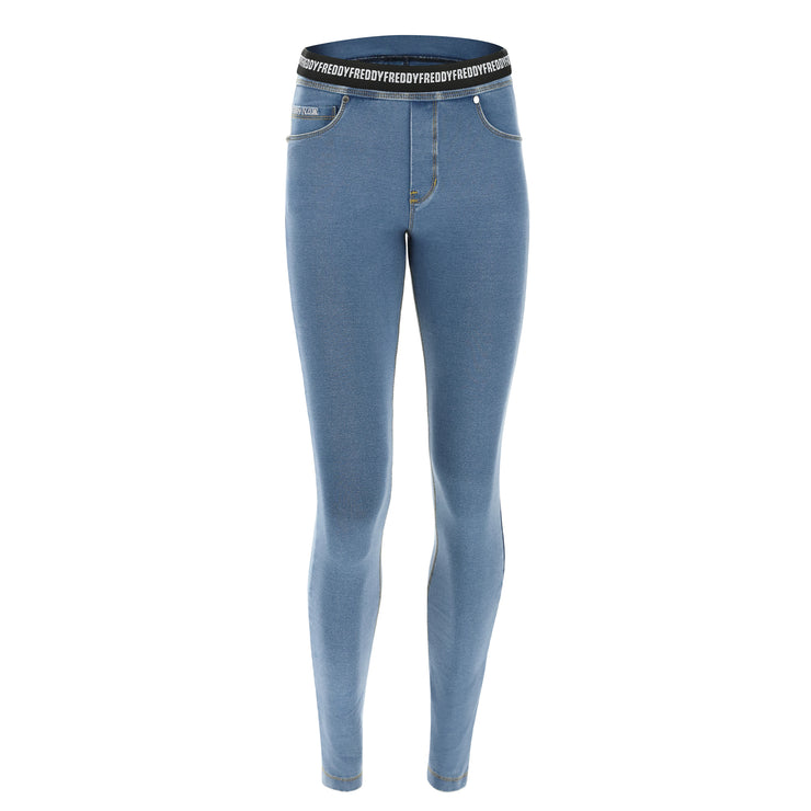 (NOWY1MC003-J4Y) N.O.W.® PANTS DENIM-EFFECT JERSEY LIGHT BLUE PANTS WITH A FOLDABLE WAIST