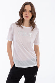 (IT_S0WALT3_W) Jersey t-shirt with polka-dot micro studs