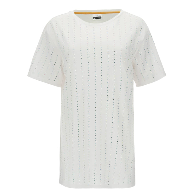 (IT_S0WFNT1_W) Long, comfort-fit t-shirt with applied crystals