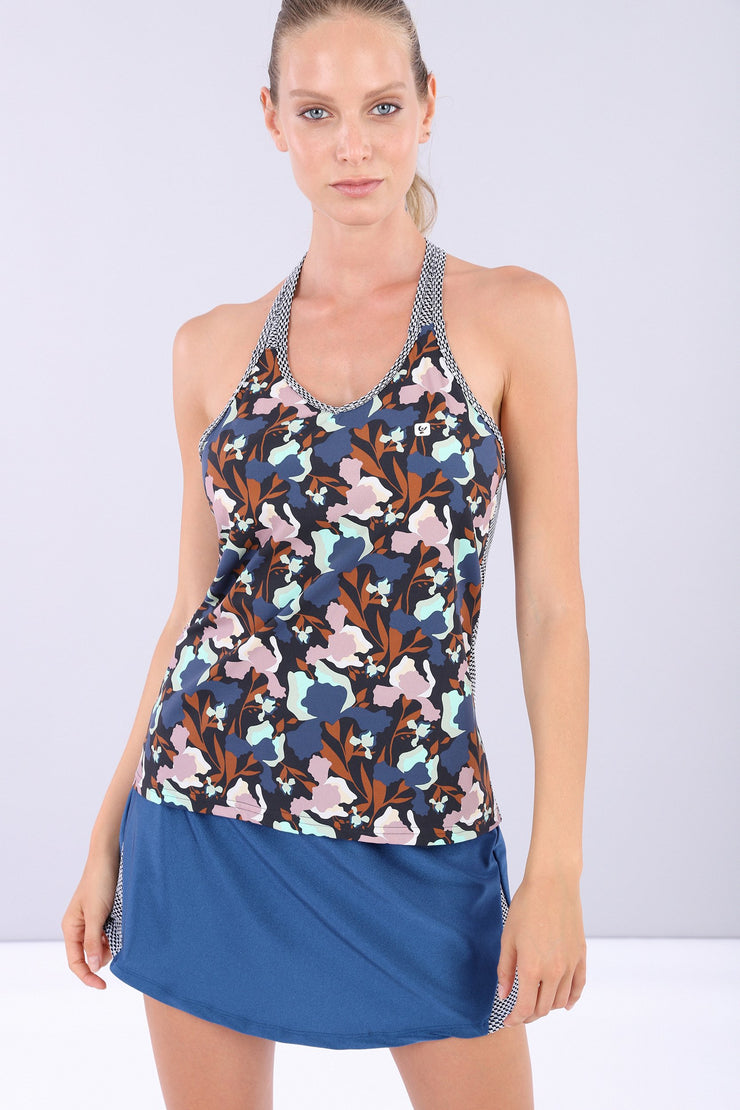(IT_S0WMIK1_BMP) Women's floral yoga tank top - 100% made in Italy