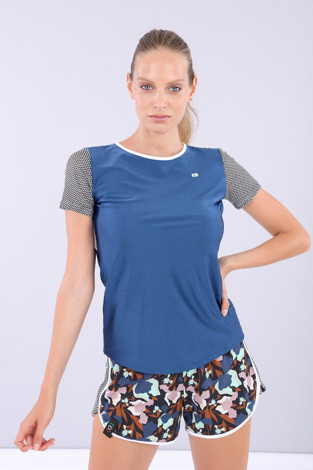(IT_S0WMIT2_B107NW) Women's short sleeve yoga t-shirt - 100% Made in Italy