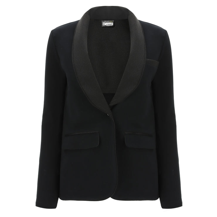 (IT_S0WTWJ2_N) Black blazer with a single button fastening