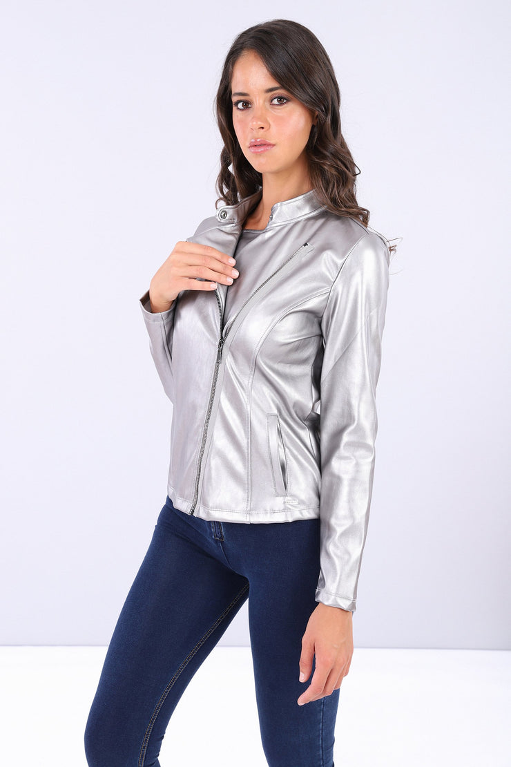(IT_S0WTWJ5_S22) Biker jacket made from metalized faux leather