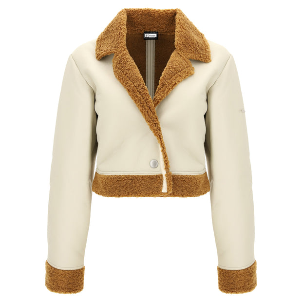 (IT_S0WTWJ7_Z100M) Cropped faux shearling and eco-napa jacket